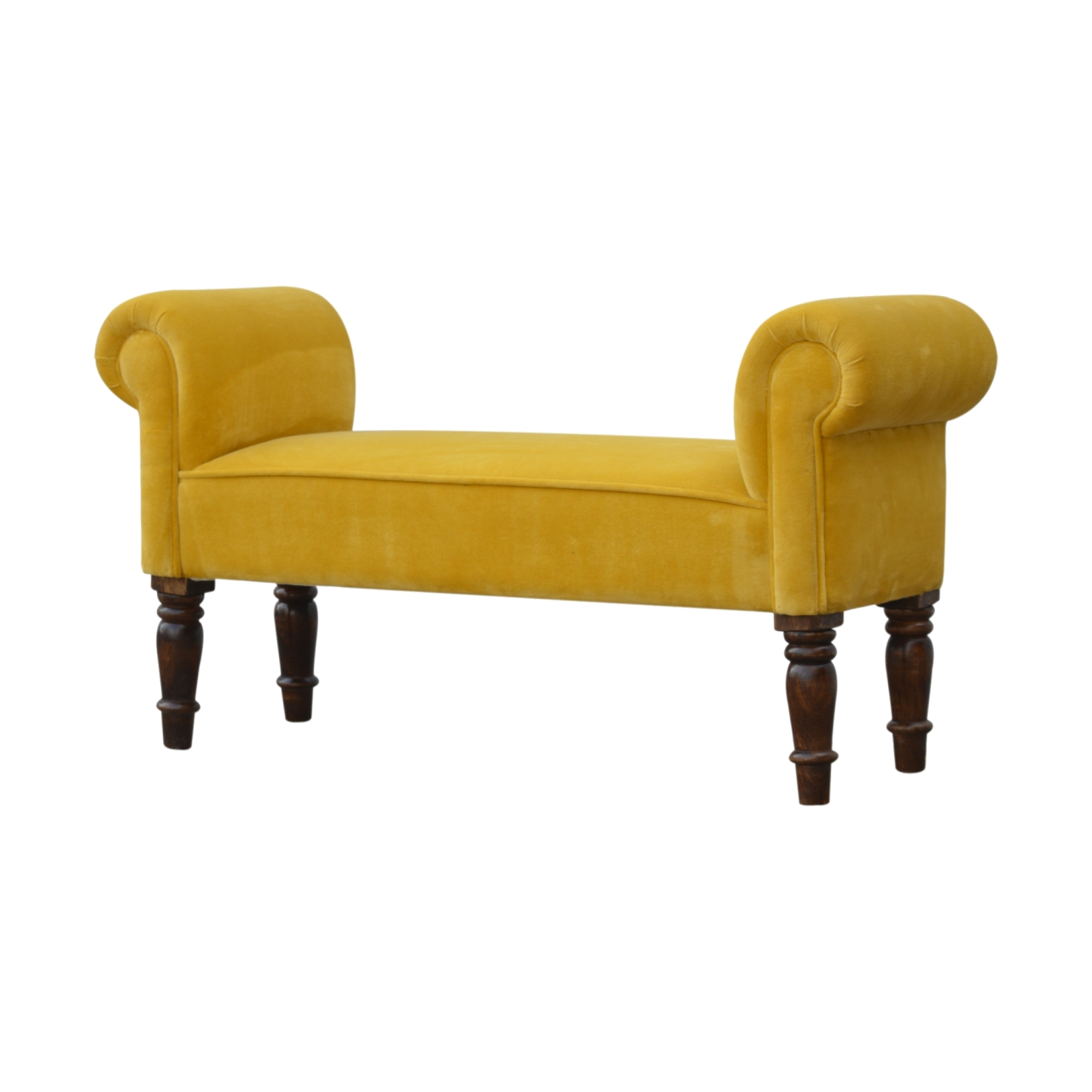 The Sofa Throw Company Ochre Mustard Velvet Bench