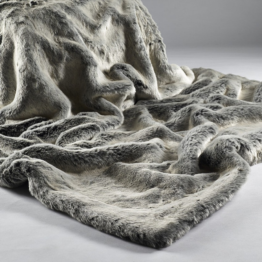 The Sofa Throw Company Alaska Fox Luxury  Grey Faux Fur Throw and Cushions