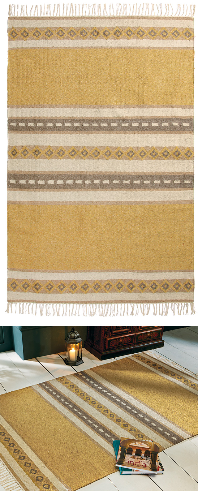 The Sofa Throw Company Ochre Recycled Cotton Rug