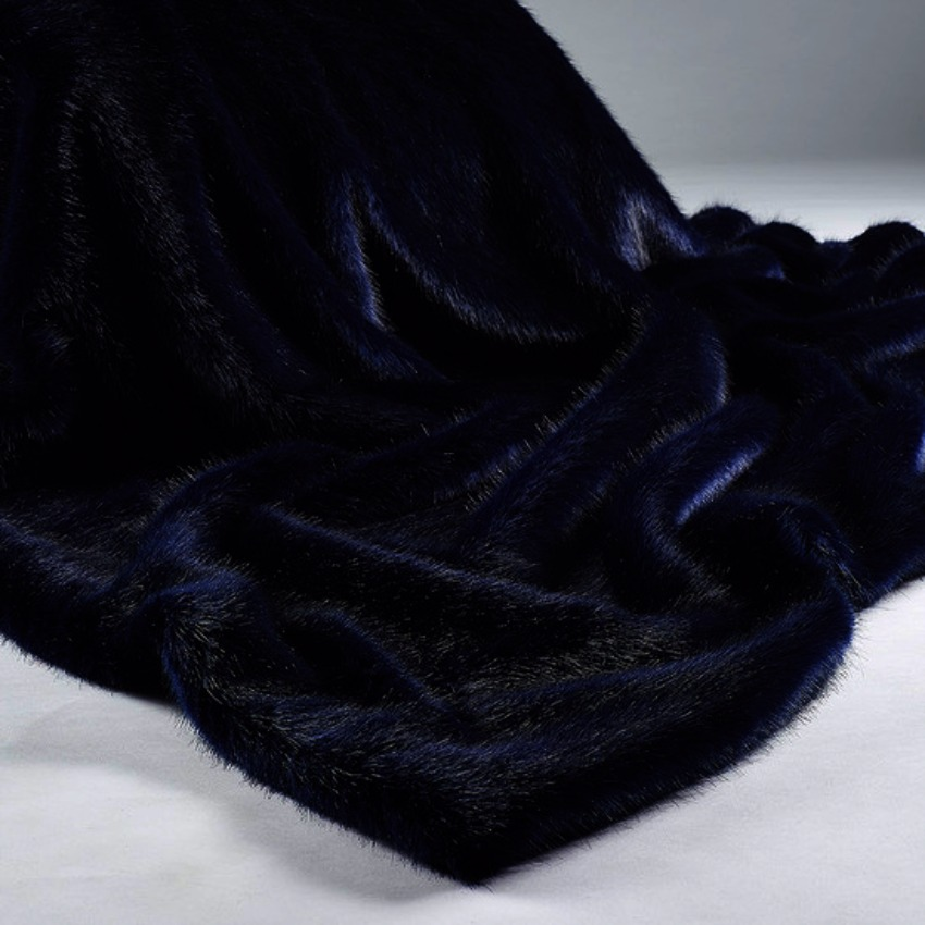 The Sofa Throw Company London Navy Blue Luxury Faux Fur Throw and Cushons