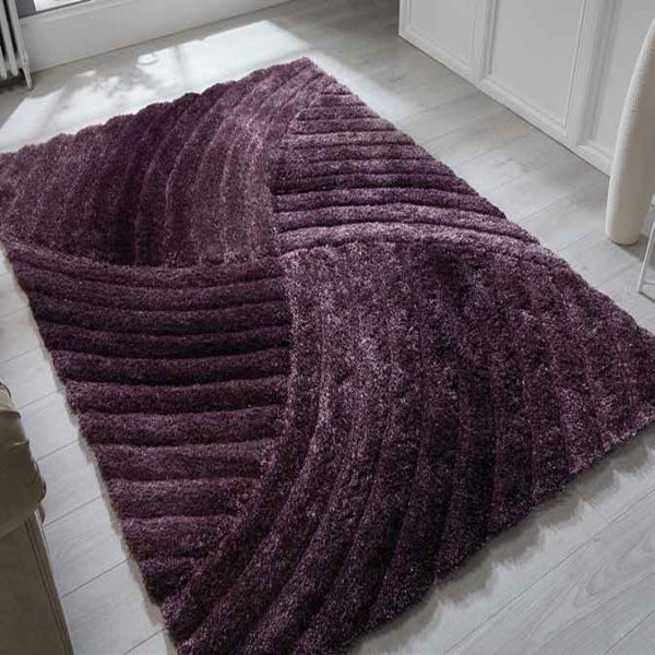The Sofa Throw Company Furrow Purple Rug 160x230cms