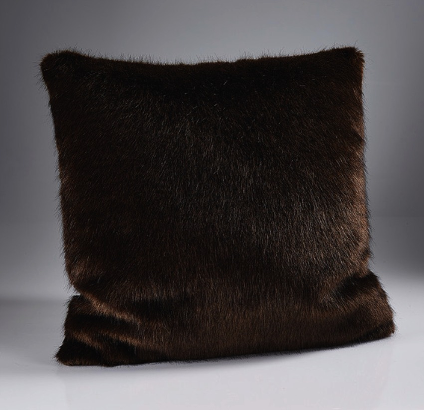 The Sofa Throw Company London Dark Brown Luxury  Faux Fur Cushion 45x45cms with Feather Pad