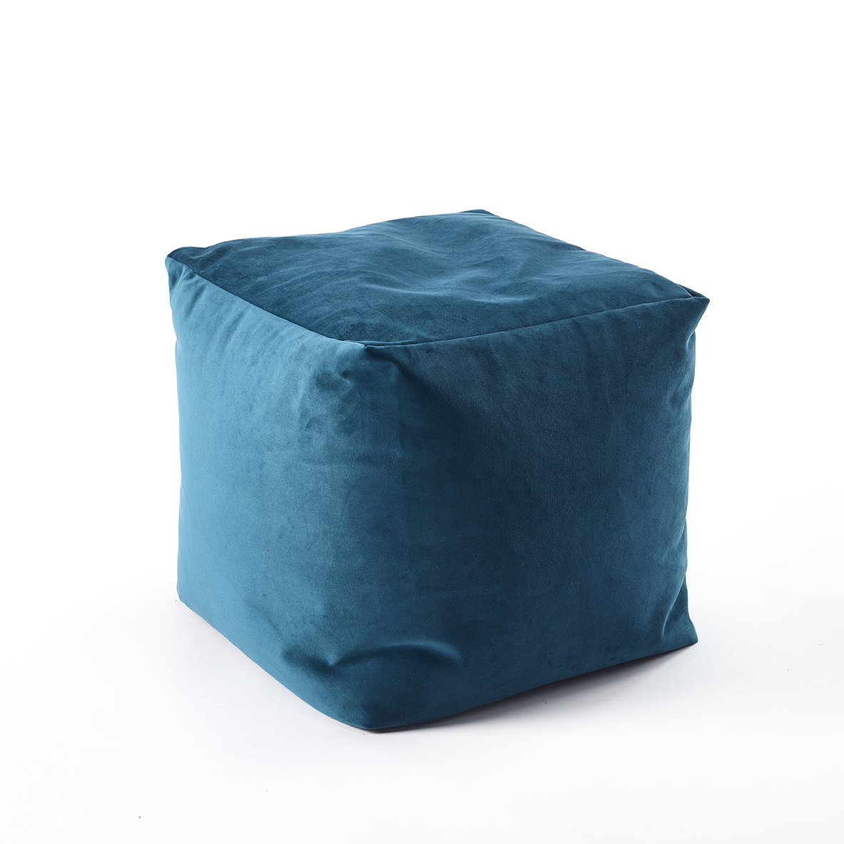 The Sofa Throw Company Teal Velvet Style Luxury Cube Pouffe 45x45x45cms