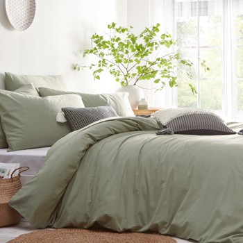The Sofa Throw Company Stonehouse Sage Green Duvet Cover and Matching Pillow Cases