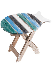 The Sofa Throw Company Turquoise/Green Fish Design Wooden Stool