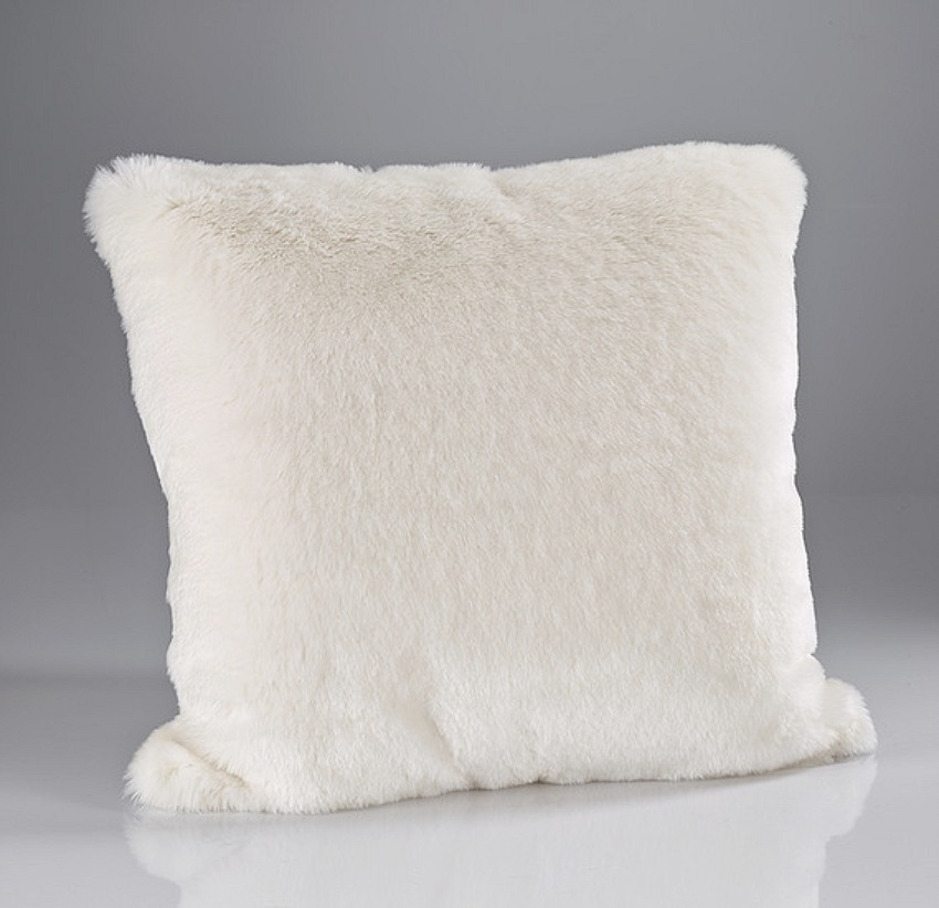 The Sofa Throw Company Luxury Faux Fur Large Cushion in Cream Plush Design 58x58cms