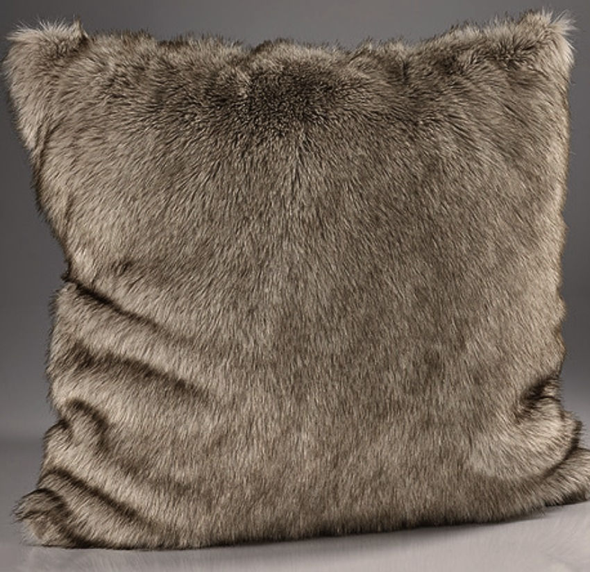 The Sofa Throw Company Siberian Wolf Luxury Faux Fur Cushion 45x45 cms